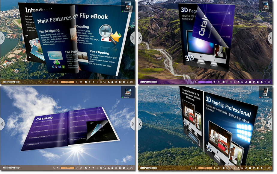 Spin Fantastic eBook in 360 Degree in 3D Panoramic Space with Page Turning Effect