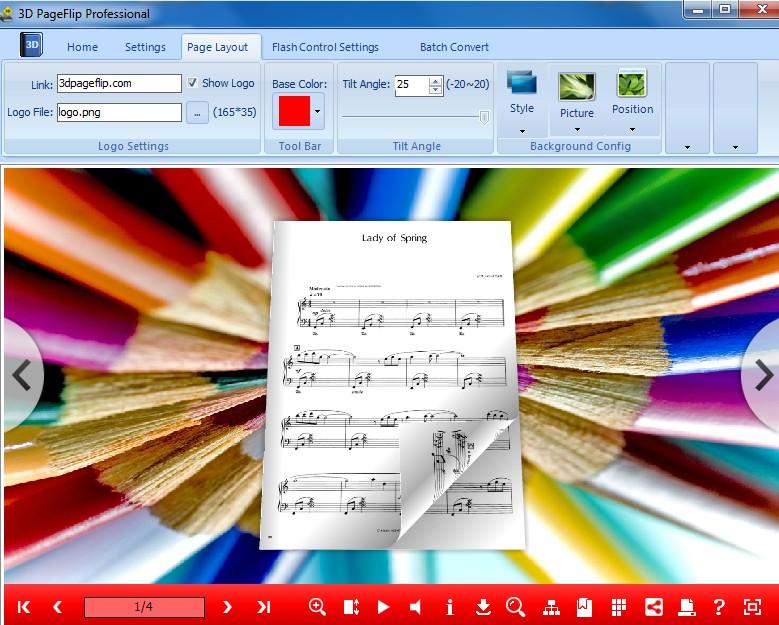 digital music page flip 3d eBook