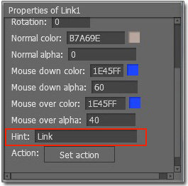 "Move to ""Properties of Link"" to make some settings for link"