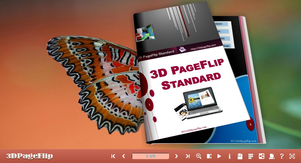 3DPageFlip Free Butterfly Templates full screenshot